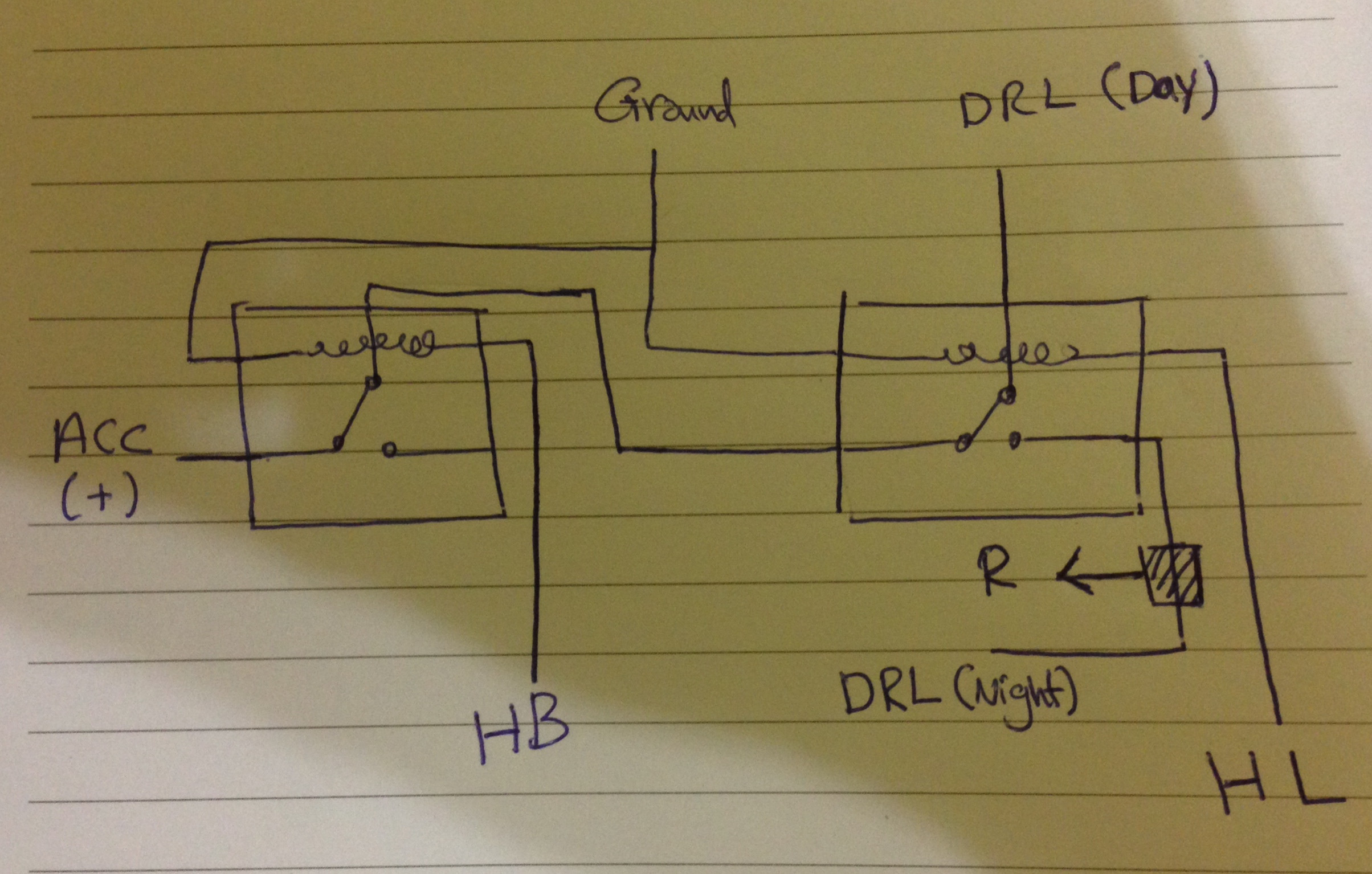 Two Relays For DRL On A Car