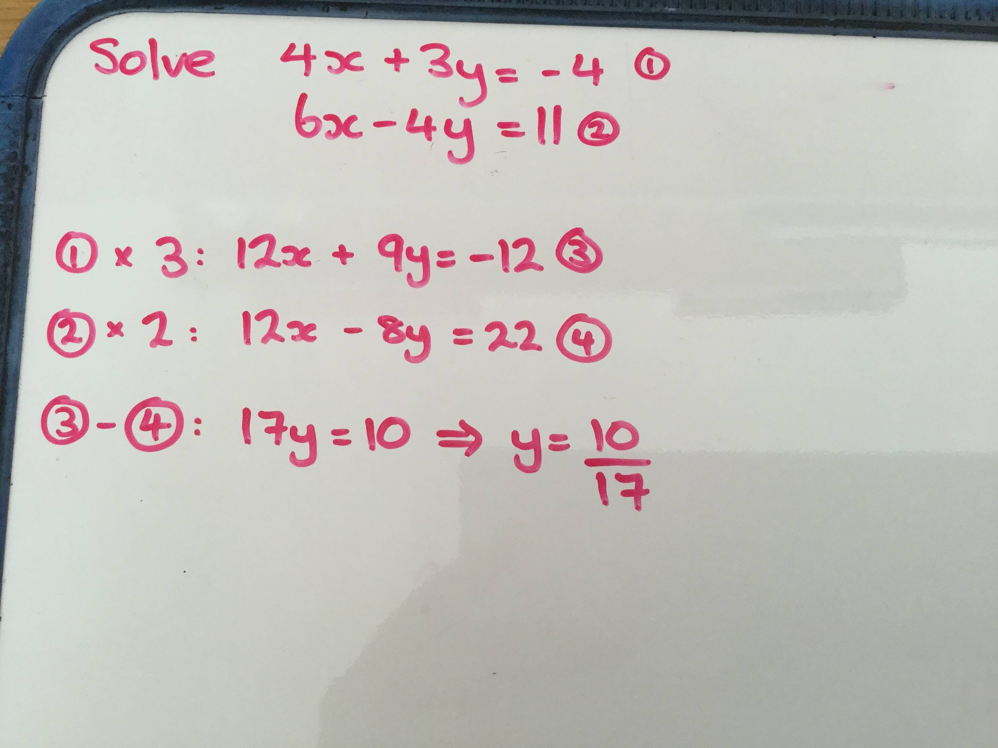 Simple Linear Simultaneous Equations Problem
