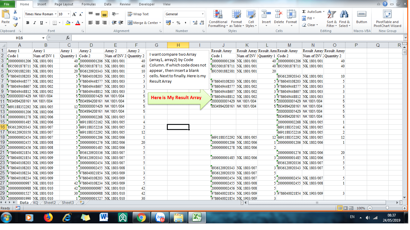Excel Vba Compare Two Array And Create Result Array