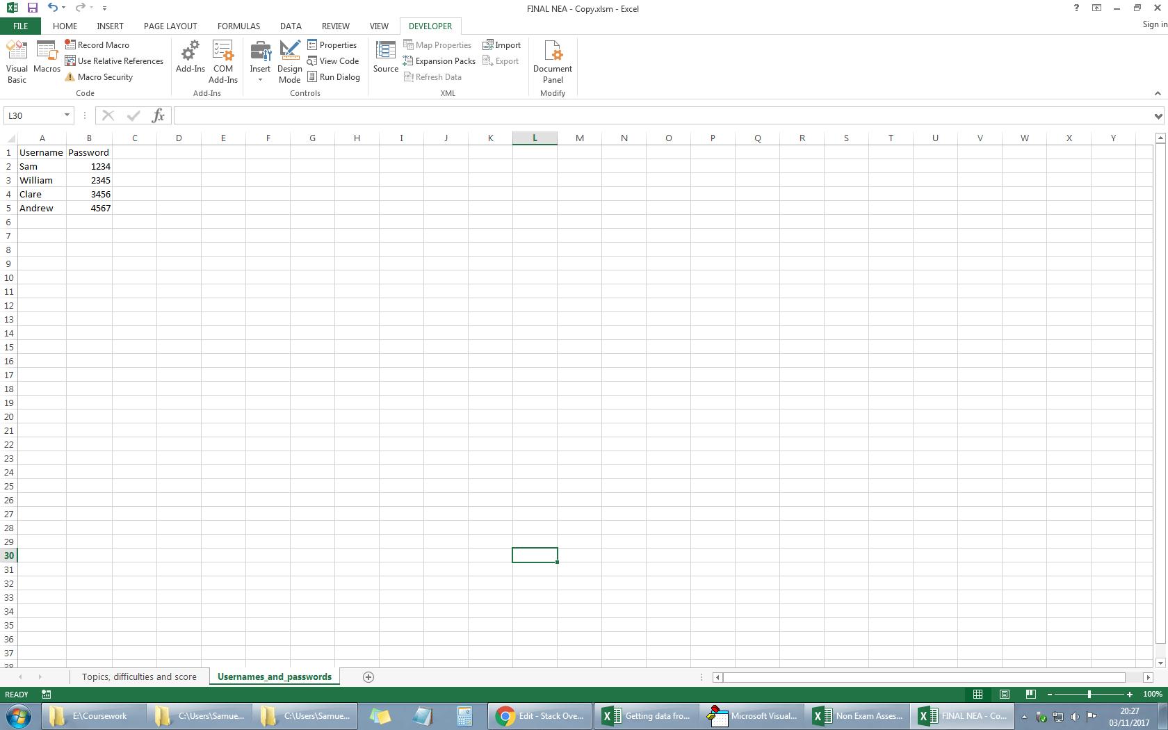 Login From Username And Password In Worksheet Excel Vba