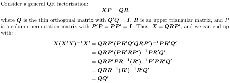 Compute Projection Hat Matrix Via Qr Factorization Svd And Cholesky Factorization Stack Overflow