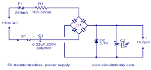 voltage  230V AC to 5V DC converter, lossless