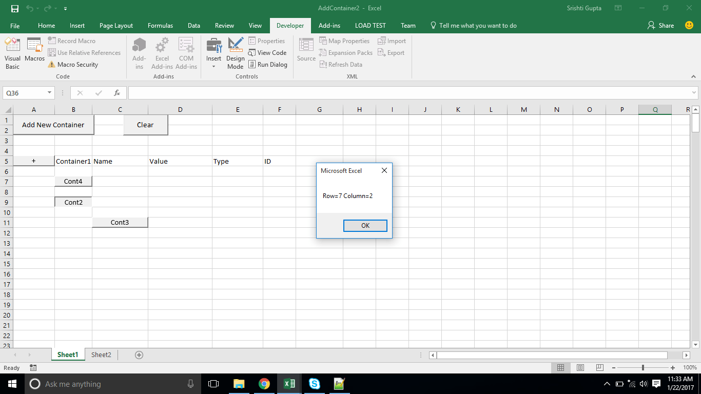 Excel Vba Getting Position Of A Dynamically Added Button After Inserting A Row That Changes It