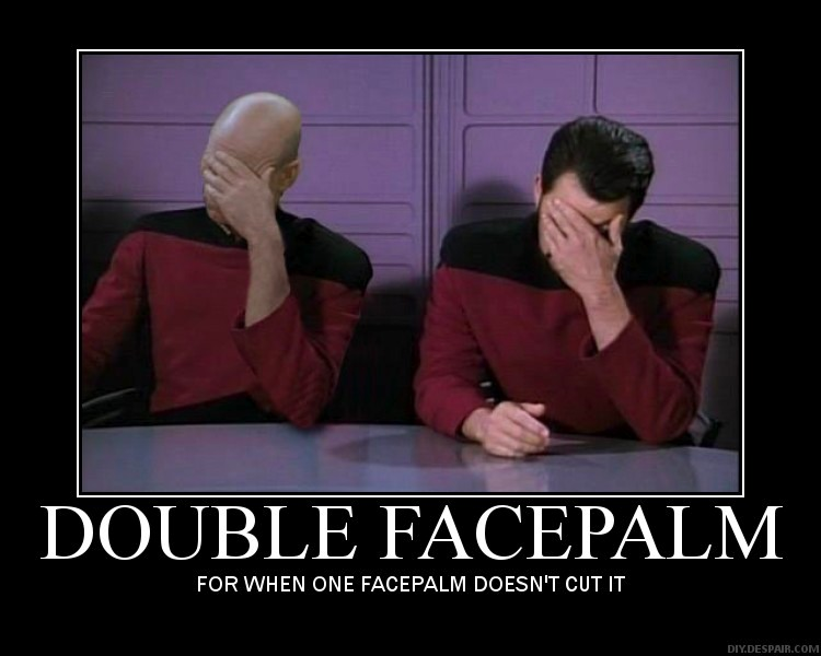 Double facepalm of Picard and Riker