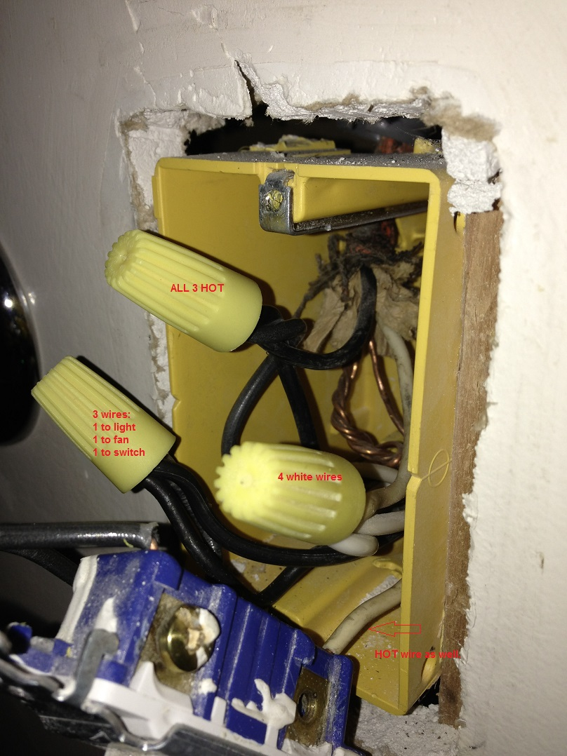 how can i rewire my bathroom fan light