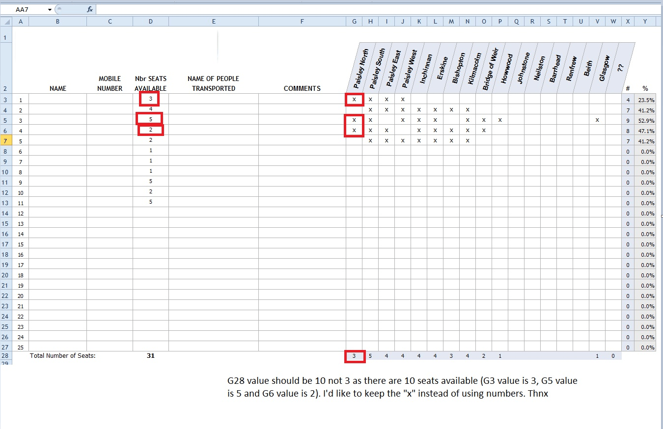 Excel Giving Another Cell Value To An X Check In