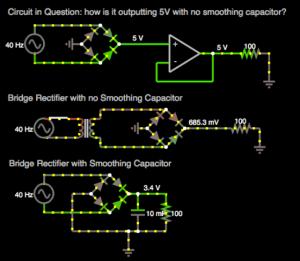 voltage  In a simulator, outputing 5V peak AC through bridge rectifier then opamp buffer