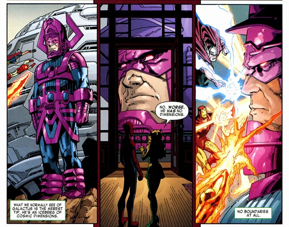 Avengers fighting Galactus