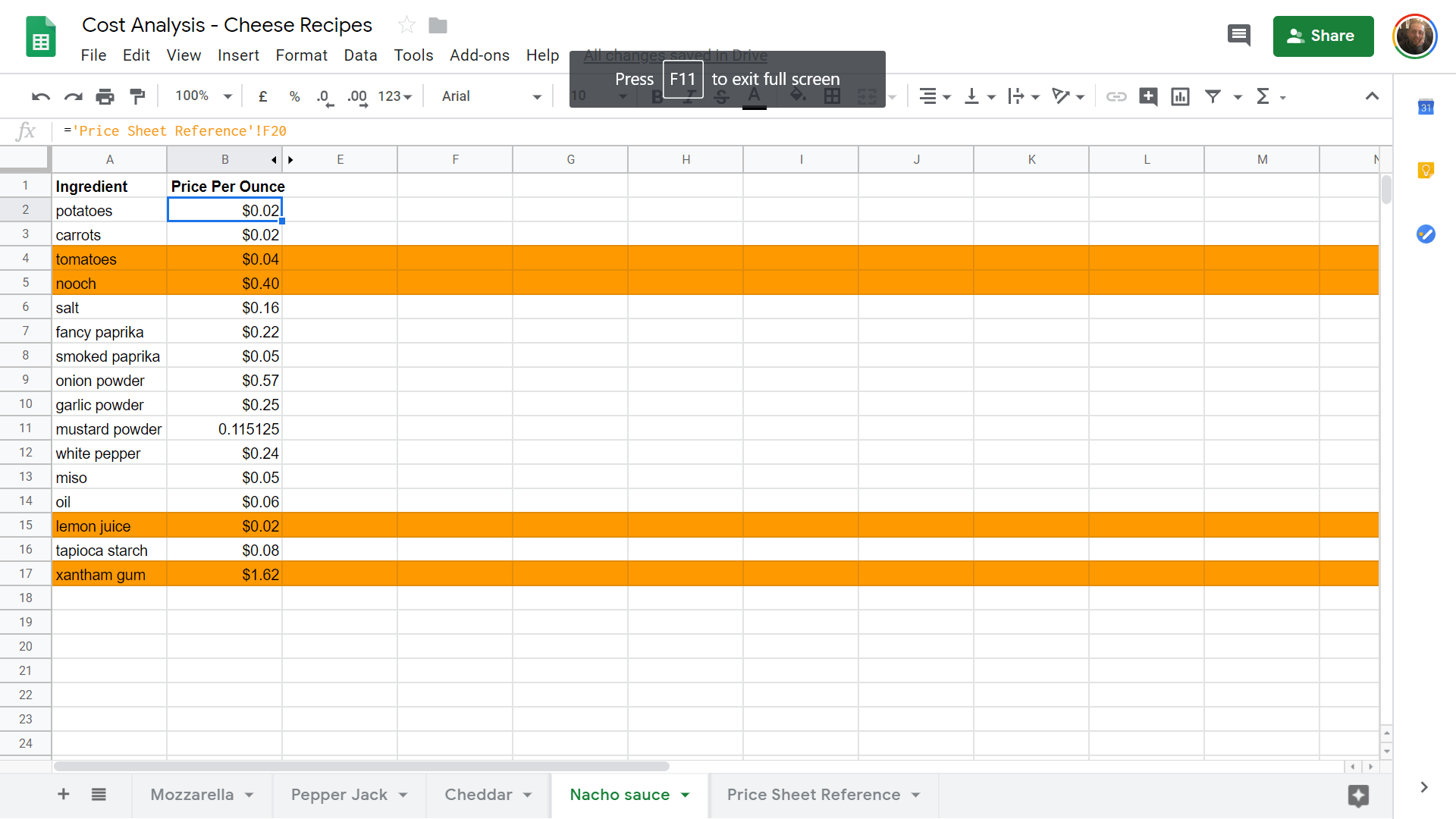 Linking A Dynamic Inventory Price List To Another File In Sheets