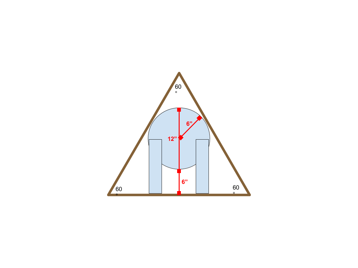 Find Altitude Of Equilateral Triangle Given Inscribed Circle Dimensions And Position