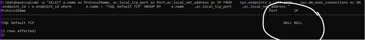IP and Port are null