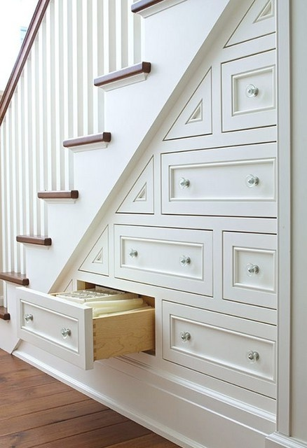 white staircase drawers
