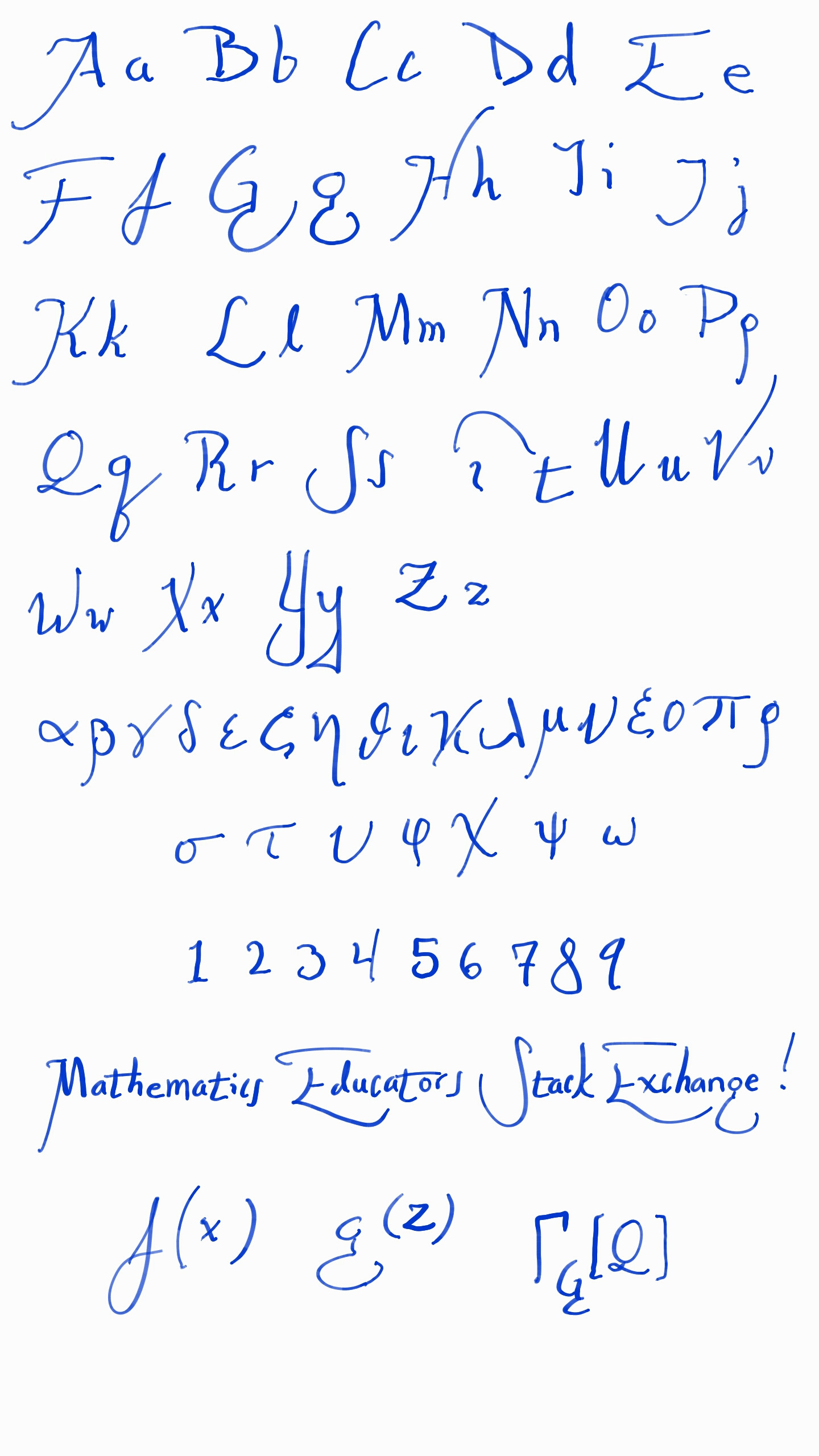 The Word Math In Cursive