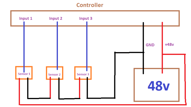 wiring 3 proximity sensors in series  electrical