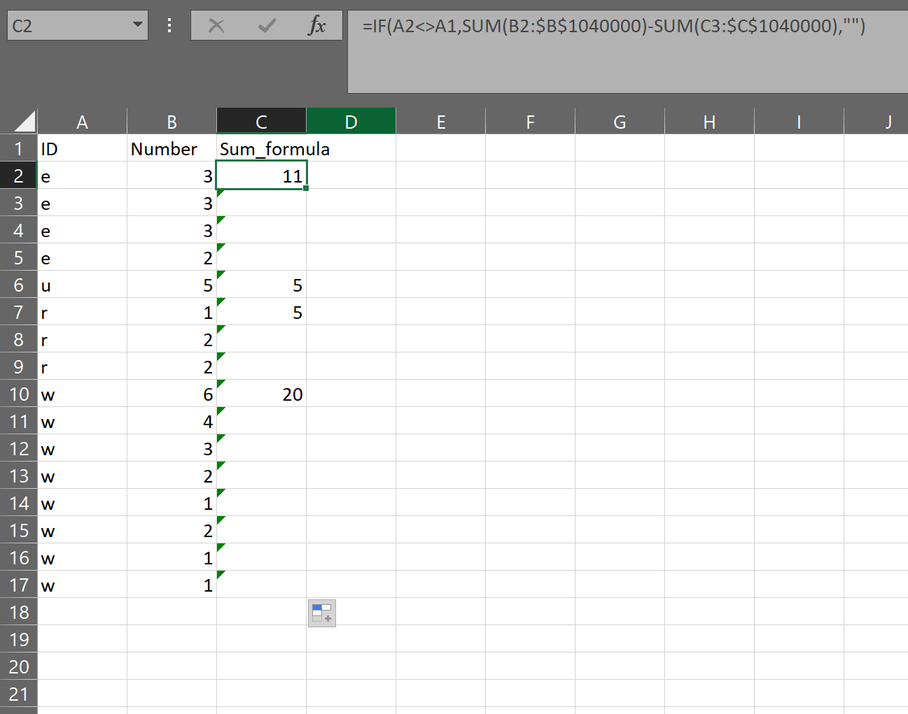 Excel Formula Needed For The Sum Of A Cumulative Group