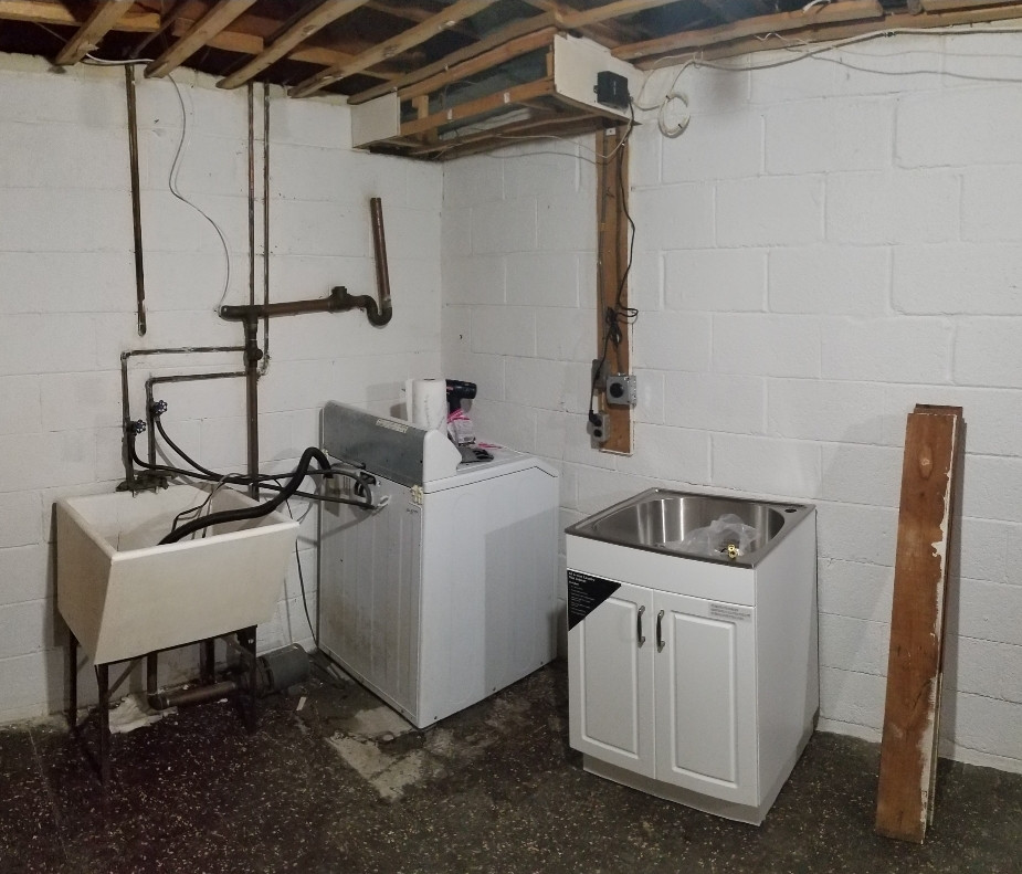 plumbing setup for basement laundry