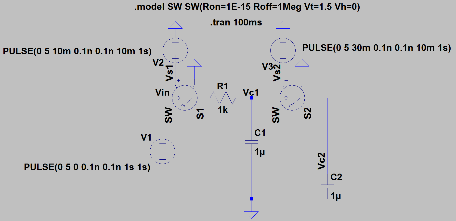 Charging One Capacitor With Another Capacitor In Ltspice