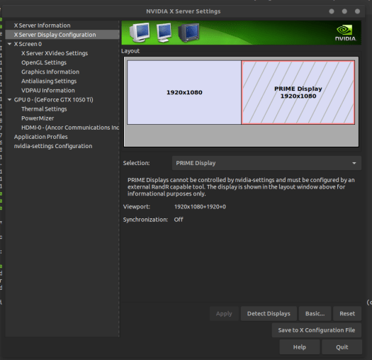 PRIME Displays cannot be controlled by nvidia-settings and must be configured by an external RandR capable tool.