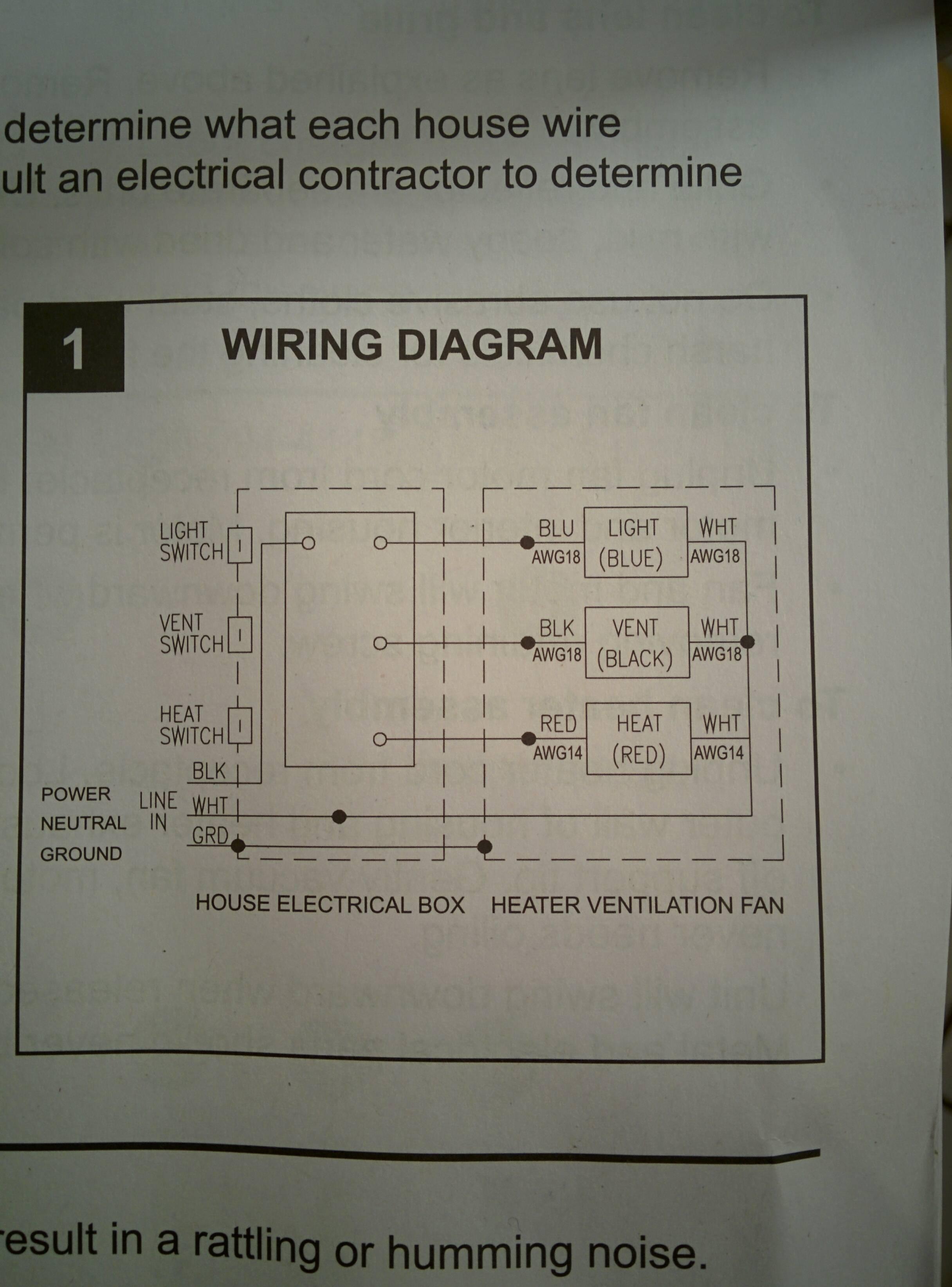 wiring bathroom exhaust fan with heater