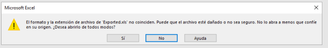 Mensaje de advertencia al abrir archivo Excel generado desde C#.
