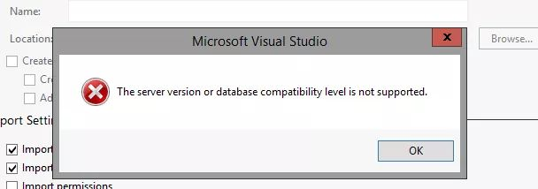 Import Synapse database to Visual Studio issue
