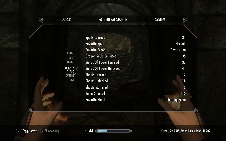 The Elder Scrolls 5 Skyrim Why Does My Magic Stats Menu