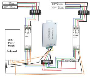 led strip  Multiple LED's, one controller, diagram
