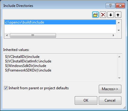 Include directories dialog