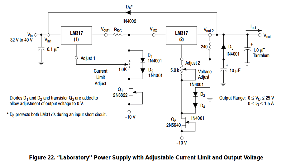 Eliminating Negative Output Voltage In A LM317-based Power