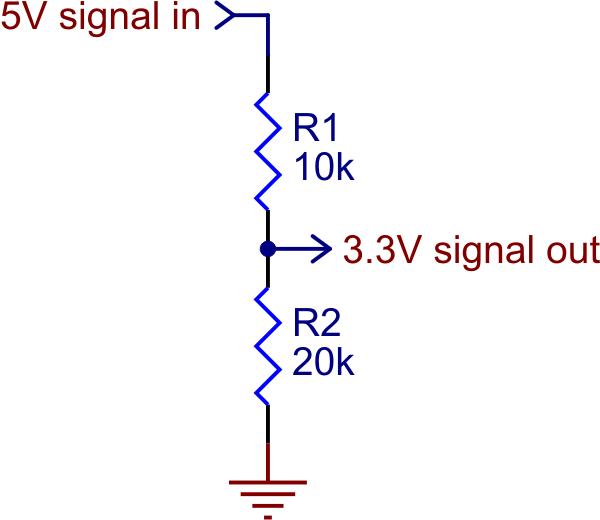 Image result for voltage divider 5V 3.3v