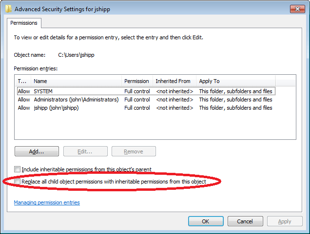 Windows Replace Permission Entries On All Child Objects