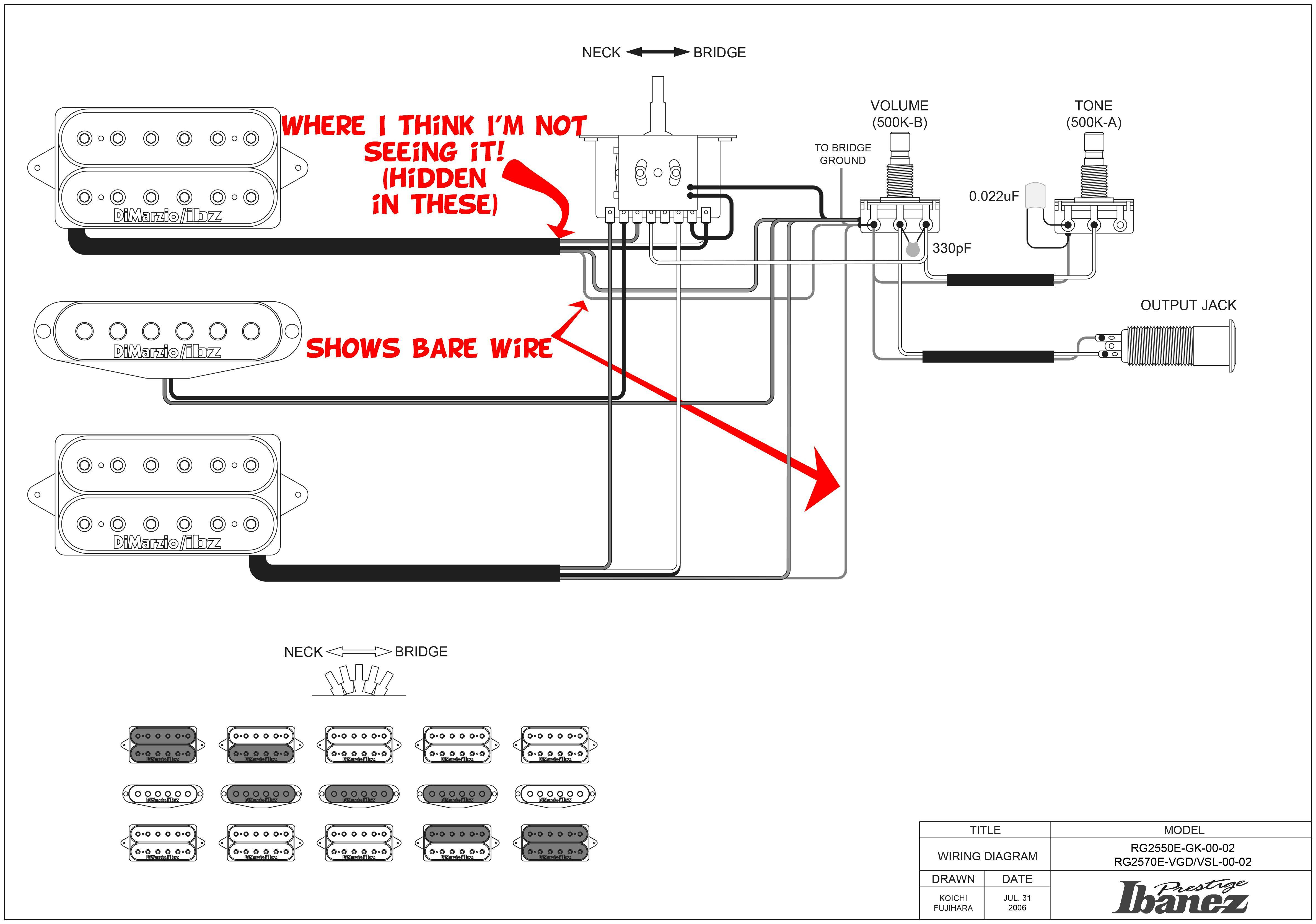 Bare Wires From Pickups In Ibanez Diagram