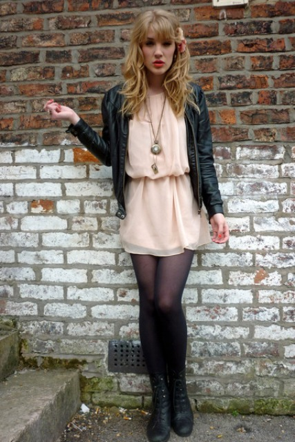 Picture Of With Chiffon Dress Leather Jacket And Black Tights