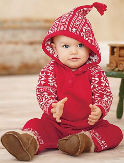 Picture Of Red Scandinavian Inspired Patterned Pyjamas