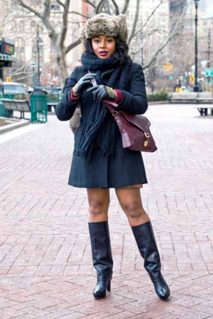 Picture Of With Mini Coat Leather High Boots And Marsala Bag