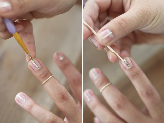 Picture Of Simple Diy Gold Striped Nail Art 5