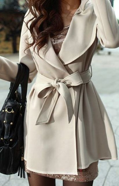 Trench Coats Cream Trench Coat Short Classic Sequin Dress Black Purse Coats for Spring