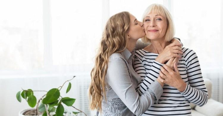prayer for child trust, girl kissing mom cheek