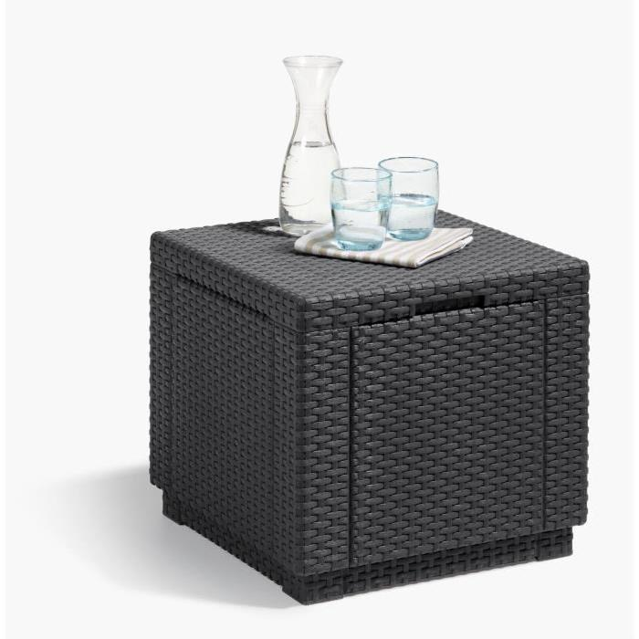 allibert table cube imitation rotin tresse avec rangement 60 l comparer avec touslesprix com
