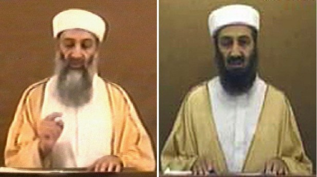 A frame grab (L) taken 29 October 2004 from a videotape aired by Al-Jazeera news channel shows al Qaeda leader Osama bin Laden. [Photo: AFP]