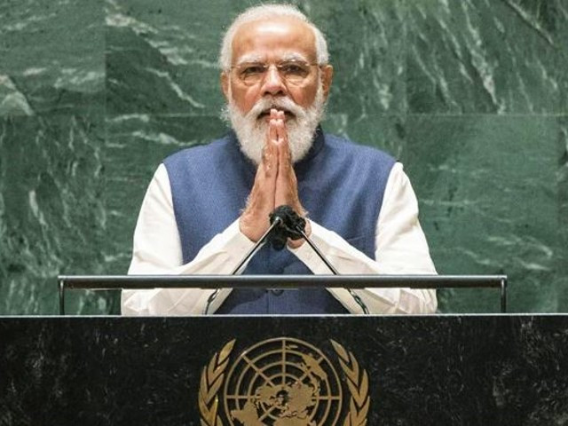 Indian Prime Minister Narendra Modi speaks at the UN General Assembly. PHOTO: AFP