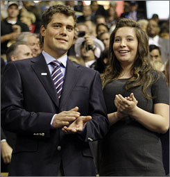 In happier times: Bristol Palin and Levi Johnston at the 2008 Republican National Convention in St. Paul.