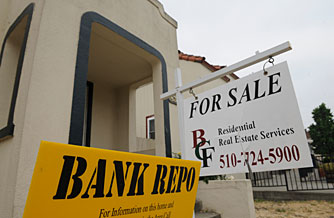 A  bank repo home for sale on Louisiana Street in Vallejo, Calif. in July 2008. Foreclosures last year were up 81% from 2007 and 225% from 2006, according to a report out today from RealtyTrac.