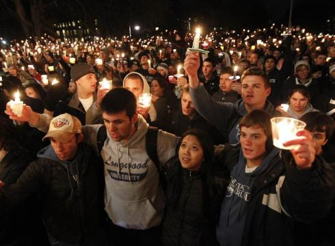 Penn State : People gather for a vigil Friday for victims of the child sex abuse scandal.Penn State : People gather for a vigil Friday for victims of the child sex abuse scandal.