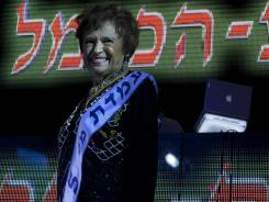 "Mania Herman, a Holocaust survivor participates in a ""Miss Holocaust Survivor"" beauty pageant, in the northern Israeli city of Haifa."