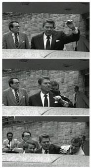 Reagan is pushed into his limousine after shots are fired. He would joke with doctors later, but his wound could have been deadly.