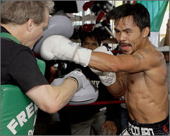Manny Pacquiao credits his hard work and faith in God for his success in the ring.