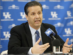John Calipari address the press on his first day as Kentucky basketball coach.