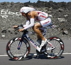 Chris Lieto competes during the bike portion of the 2010 Ford Ironman World Championship in Kailua-Kona, Hawaii. Lieto finished the competition as the top American.