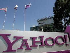 A sign is seen in front of Yahoo! headquarters in Sunnyvale, California.